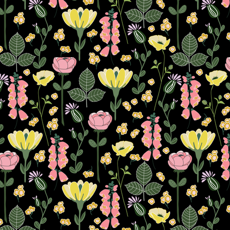 Forest floral in black fabric by thislittlestreet on Spoonflower - custom fabric