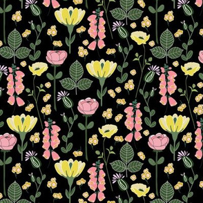 Forest floral in black