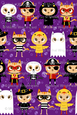 Trick or Treat! Halloween cat in costume: ghost, skeleton, chicken, witch, superhero, pirate bat and robber