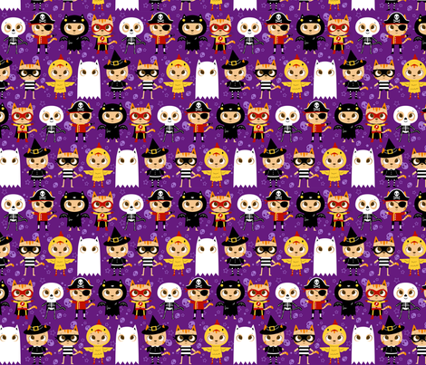 Trick or Treat! Halloween cat in costume: ghost, skeleton, chicken, witch, superhero, pirate bat and robber fabric by michalwright-ward on Spoonflower - custom fabric