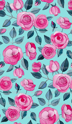 Tiny Pink Watercolor Roses on Turquoise Blue