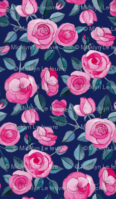 Tiny Pink Watercolor Roses on Dark Blue Purple