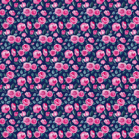 Tiny Pink Watercolor Roses on Dark Blue Purple fabric by micklyn on Spoonflower - custom fabric