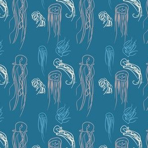 Blue Jellyfish Doodles