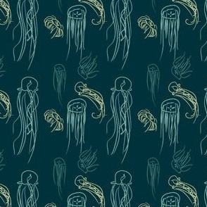 Green Jellyfish Doodles