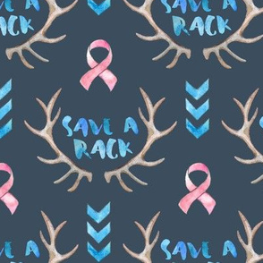 Save a Rack - watercolor antlers, ribbon, chevrons - on dark, small print