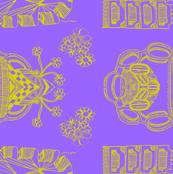 Lime Green on Purple Whimsical Wayward Stripe