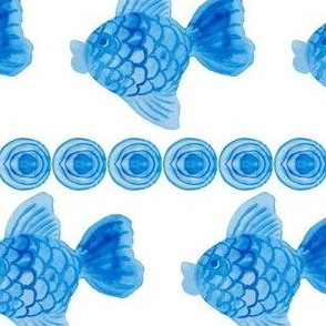 Blue water-colour fish