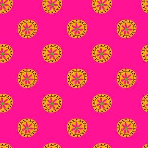 Boho Polkadots Pink Yellow