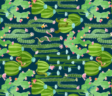 Turned The Cactus Garden of Earthly Delights  fabric by vo_aka_virginiao on Spoonflower - custom fabric