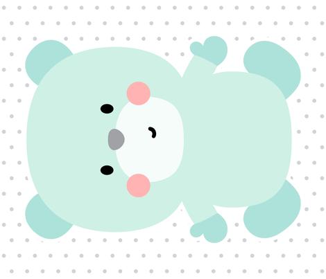 bear mint front mod baby » plush + pillows // fat quarter fabric by misstiina on Spoonflower - custom fabric