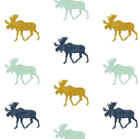 multi moose (small scale) || navy mint mustard fabric by littlearrowdesign on Spoonflower - custom fabric
