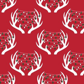 christmas lights on antlers || holiday red