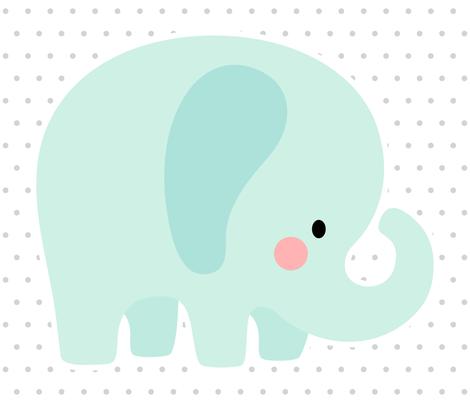 elephant mint front mod baby » plush + pillows // fat quarter fabric by misstiina on Spoonflower - custom fabric