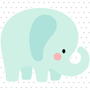 elephant mint front mod baby » plush + pillows // fat quarter