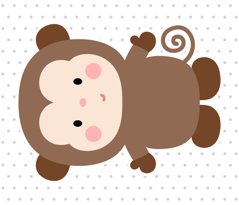 monkey brown front mod baby » plush + pillows // fat quarter fabric by misstiina on Spoonflower - custom fabric