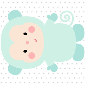 monkey mint front mod baby » plush + pillows // fat quarter