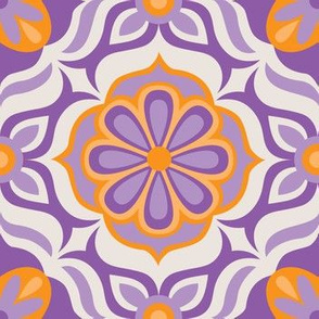 Tile flower | orange and purple
