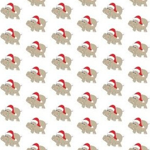 "1"" Santa Hippos on White Background"