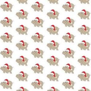 """1"""" Santa Hippos on White Background"""