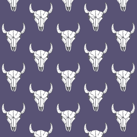 Bull Skull - Plum fabric by kelly_korver on Spoonflower - custom fabric