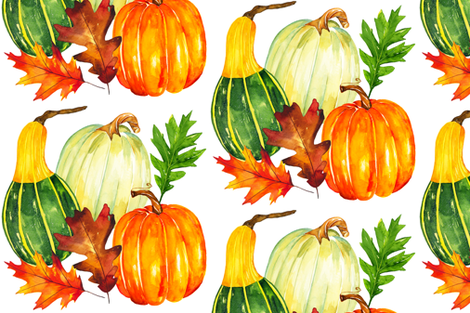 Watercolor Pumpkins fabric by jeanniedickson on Spoonflower - custom fabric