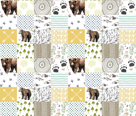 Mama Bear & Cub   - Whole Cloth / Cheater Quilt  fabric by shopcabin on Spoonflower - custom fabric