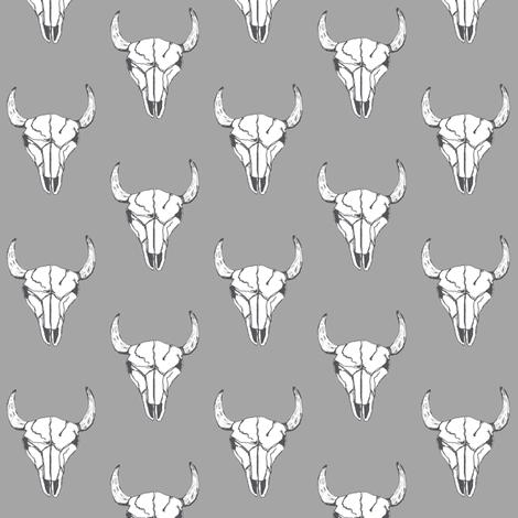 Bull Skull - Grey fabric by kelly_korver on Spoonflower - custom fabric