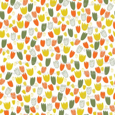 Tiny tulips in orange