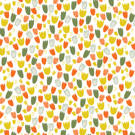 Tiny tulips in orange fabric by thislittlestreet on Spoonflower - custom fabric
