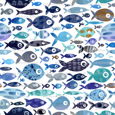 Blue Watercolour Fish