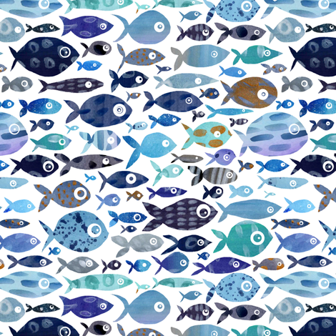 Blue Watercolour Fish fabric by emeryallardsmith on Spoonflower - custom fabric