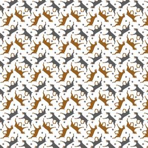 Trotting Doberman Pinschers and paw prints - tiny white