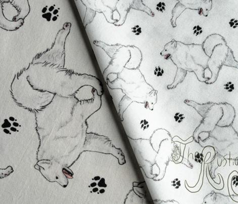 Trotting Samoyed and paw prints - tiny white