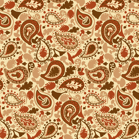 Autumn Paisley // Brown and Red fabric by tanksley on Spoonflower - custom fabric