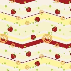 Large Summer Strawberry Swirl Chevron Pattern