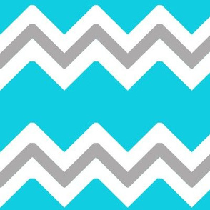 Turquoise Teal Blue Grey Gray Chevron