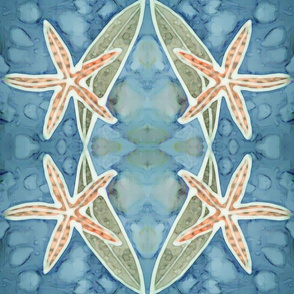 Orange Blue Batik Starfish with Kelp on Ocean
