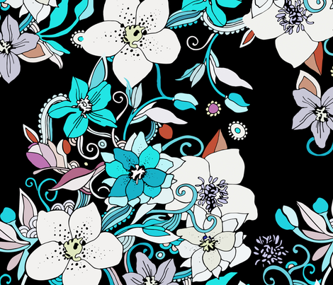 hellabores night fabric by camcreative on Spoonflower - custom fabric