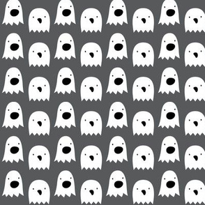 ghosts on dark grey » halloween monochrome