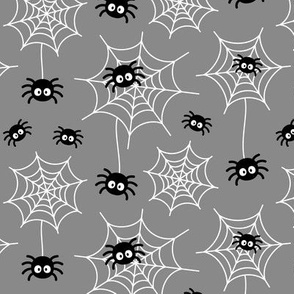 spiders and webs on light slate grey » halloween monochrome