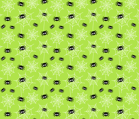 spiders and webs on lime green » halloween fabric by misstiina on Spoonflower - custom fabric