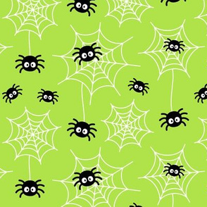 spiders and webs on lime green » halloween