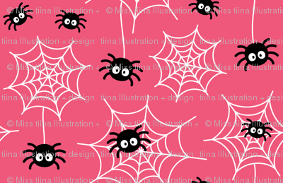 spiders and webs on hot pink » halloween