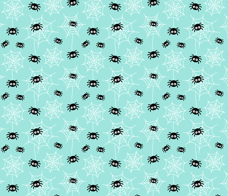 spiders and webs on light baby teal blue » halloween fabric by misstiina on Spoonflower - custom fabric