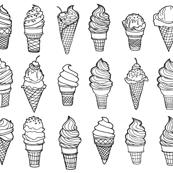 Ice Cream Cones, Drawing, Black on White