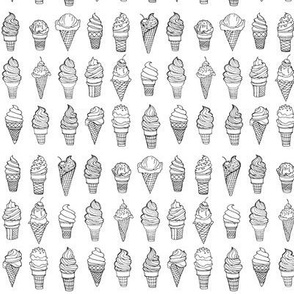 Teeny Tiny Ice Cream Cones, Drawing, Black on White