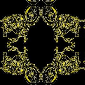 Damask - Moto Damask in Yellow on Black