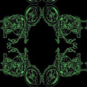 Damask - Moto Damask in Green on Black