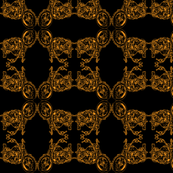 Damask - Moto Damask in Orange on Black
